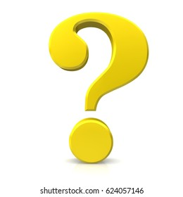 question mark 3d isolated on white background yellow gold sign icon rendering