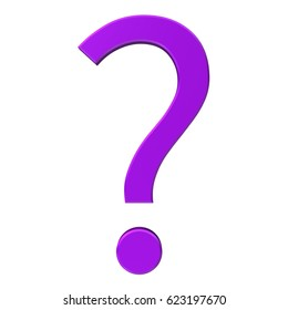 question mark 3d purple lila violet isolated on white background rendered as icon or symbol in high resolution for print internet and presentation