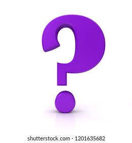 question mark 3d purple render interrogation point  ask sign query symbol learning icon isolated