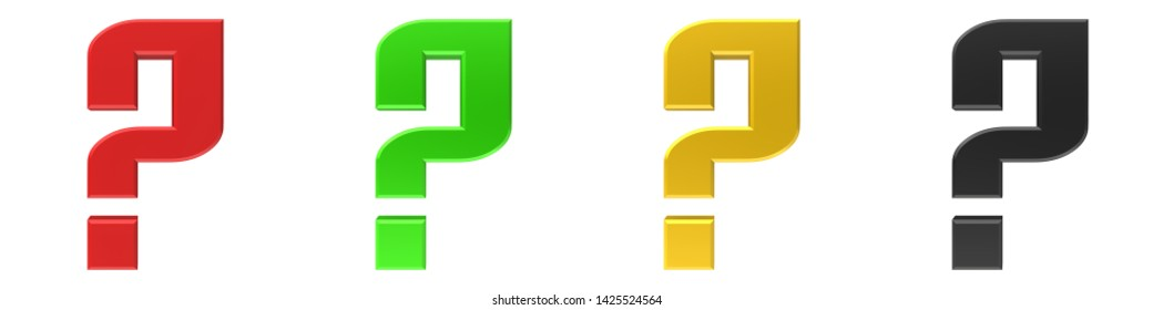 question mark 3d rendering illustration interrogation point asking punctuation mark sign symbol icon set isolated on white background