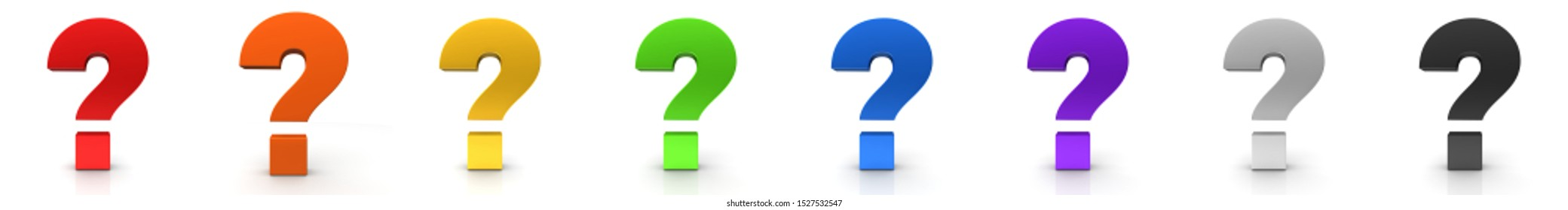 question mark 3d rendering illustration interrogation points red orange gold yellow green blue purple silver black sign asking symbol icon set isolated on white