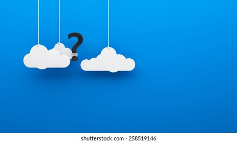 Question mark in the clouds blue heaven background Where is the God? 3d render
