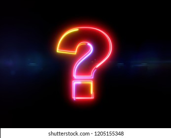Question mark - colorful glowing outline symbol on blue lens flare dark background