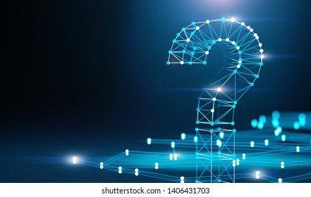 Question mark and concept of science and technology. Questions and answers on the Internet.Networking and communication questions.3d illustration