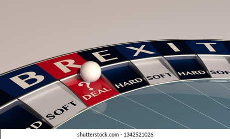 question mark deal brexit roulette  - concept gambling  / 3d-illustration