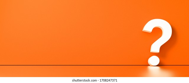 Question mark in front of a color wall background. Business support concept - 3D Rendering