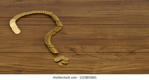A question mark of golden coins on board 3D illustration.
