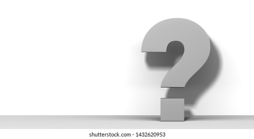 question mark gray 3d rendering illustration query graphic interrogation point sign isolated on white