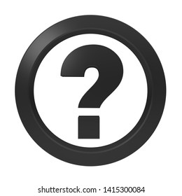 question mark icon interrogation point sign ask symbol query label punctuation mark black 3d rendering illustration isolated on white