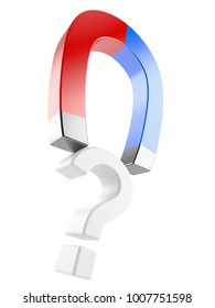 Question mark with magnet isolated on white background. 3d illustration