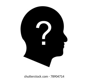 Question mark in a man's head illustration