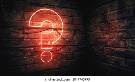 Question mark neon sign on brick wall, conceptual 3d rendering illustration for test, exam and looking for answers perplexed situation.