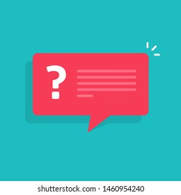 Question mark notification bubble speech sign, flat cartoon question or answer message balloon icon or pictogram isolated image