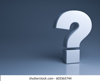 Question mark on dark grey background with shadow and reflection . 3D rendering.