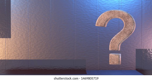 Question mark on a Sci-Fi background. 3d rendering.