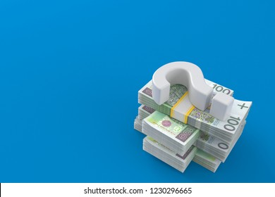 Question mark on stack of money isolated on blue background. 3d illustration