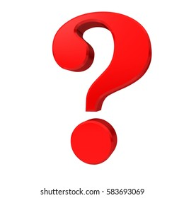 question mark point red glossy symbol business render graphic large clean left 6