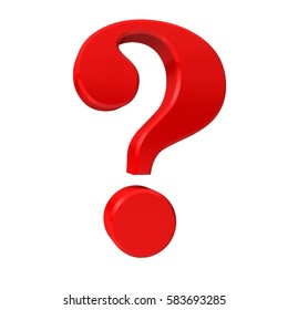 question mark point red glossy symbol business render graphic large clean right 6