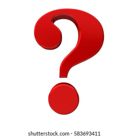 question mark point red glossy symbol business render graphic large clean front 6