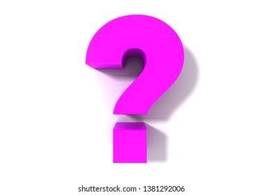 question mark punctuation mark interrogation point pink 3d rendering illustration isolated on white background