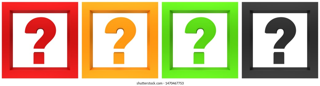 question mark queries red gold yellow black 3d interrogation points icon set 3d rendering illustration