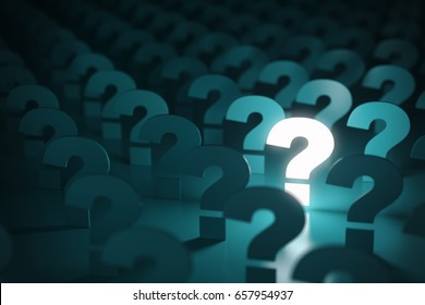 Question mark sign. Idea or problem concept background. 3d illustration