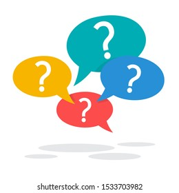 Question mark sign in speech bubble. Ask button. Idea of support and advice. Isolated  illustration in cartoon style