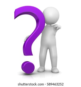 question mark stickman 3d isolated magenta symbol icon large V4