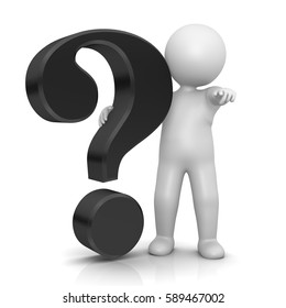 question mark stickman 3d isolated black symbol icon large V5