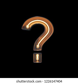 Question mark symbol made of neon Light with clipping path. 3D illustration