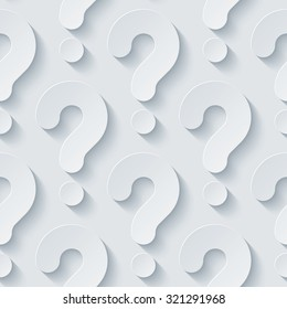 Question marks 3d seamless background. Light perforated paper pattern with cut out effect.