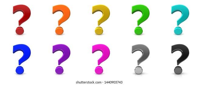 question marks icon set interrogation points punctuation marks 3d rendering illustration red black gold silver green blue multi color set