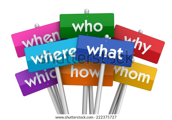 Question Words Placards Stock Illustration 222375727