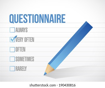 questionnaire check tick mark selection illustration design over a white background