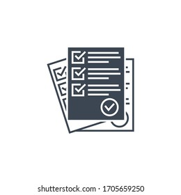 Questionnaire related glyph icon. Isolated on white background. illustration.