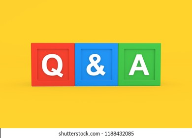 Questions and answers with colorful block on yellow background, 3d illustration.