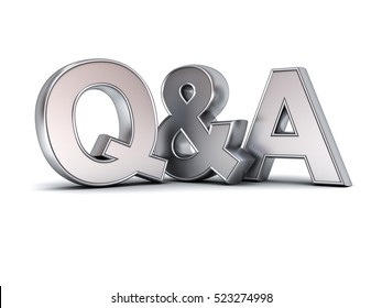 Questions and answers concept metal Q and A text isolated over white background with shadow. 3D rendering.