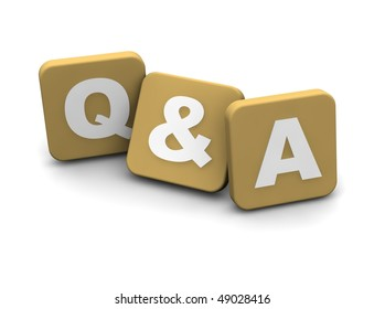Questions and answers text. 3d rendered illustration isolated on white.
