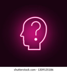 questions in head icon. Elements of interview in neon style icons. Simple icon for websites, web design, mobile app, info graphics  on dark gradient background