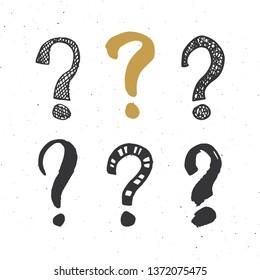 Questions marks doodle set. Hand drawn grunge signs. illustration.