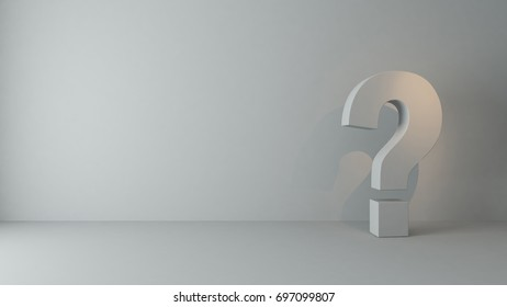 questions marks in empty room with under spot light 3D rendering