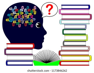 Questions no book knows the answer. Woman gets confused because she does not get an explanation to her problems by reading through many publications