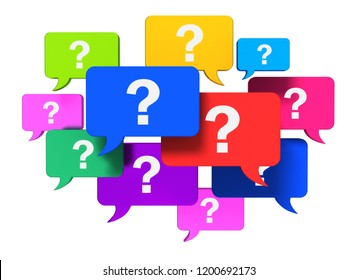 questions speech bubbles concept 3d illustration isolated on white background