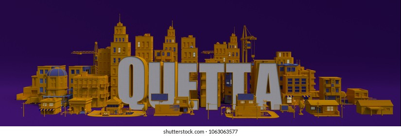 Quetta lettering name, illustration 3d rendering city with buildings