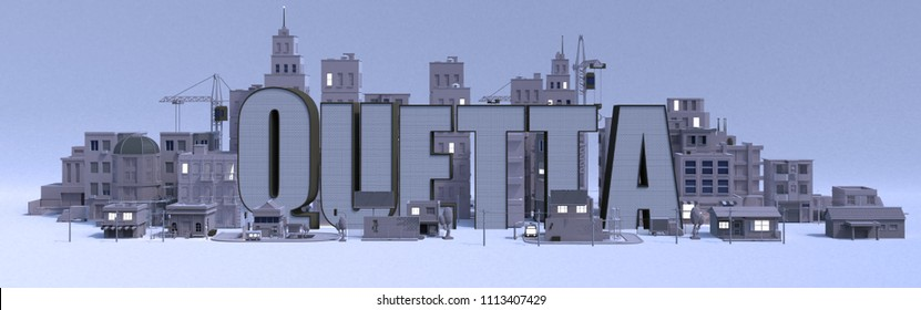 Quetta lettering name, illustration 3d rendering city with gray buildings