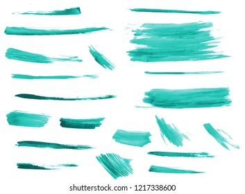 Quetzal green watercolor art with brush strokes set. Aquarelle paint paper texture isolated stain element for text design, greeting card, template on white background. Hand drawn illustration