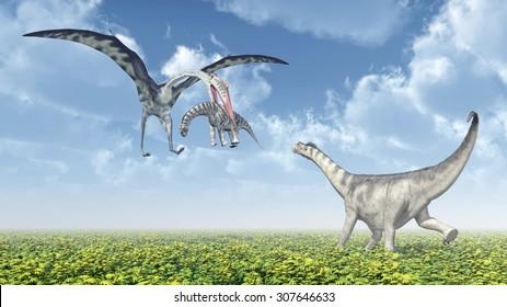 Quetzalcoatlus attacks a Camarasaurus Computer generated 3D illustration