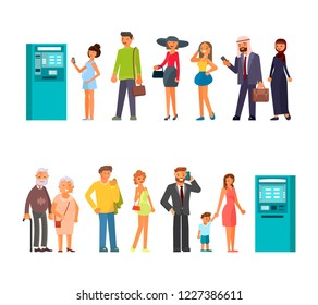 Queue at the ATM in a flat style. People characters are standing in line. Isolated white background. Rastered copy