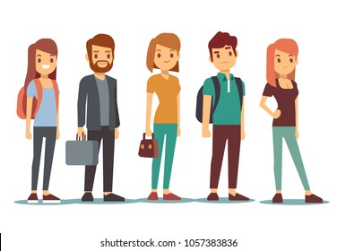 Queue of young people. Waiting women and men standing in line. Queue wait woman and man. illustration
