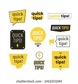 Quick tips, helpful tricks logos, emblems and banners set isolated. Helpful idea, solution and trick illustration